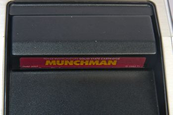 Cartridge (Munchman shown) slot on the Texas Instruments TI-99/4A